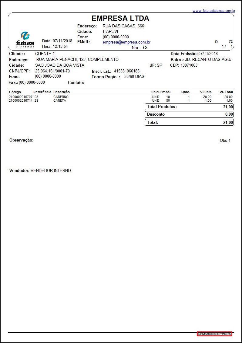 Layouts de Orçamentos de Vendas 06