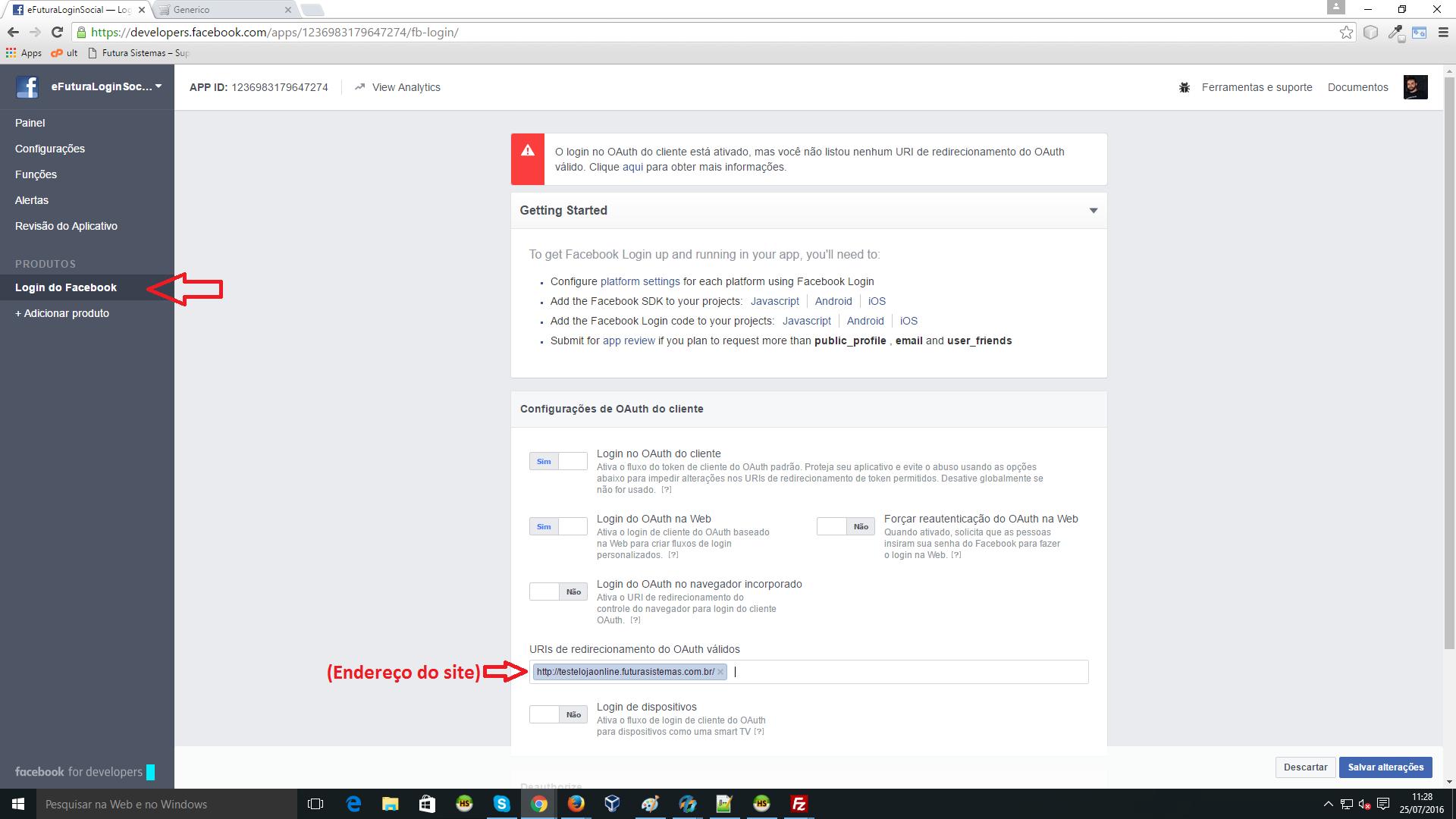 Configurao do aplicativo de login com o facebook futura sistemas facebook img12 stopboris Image collections