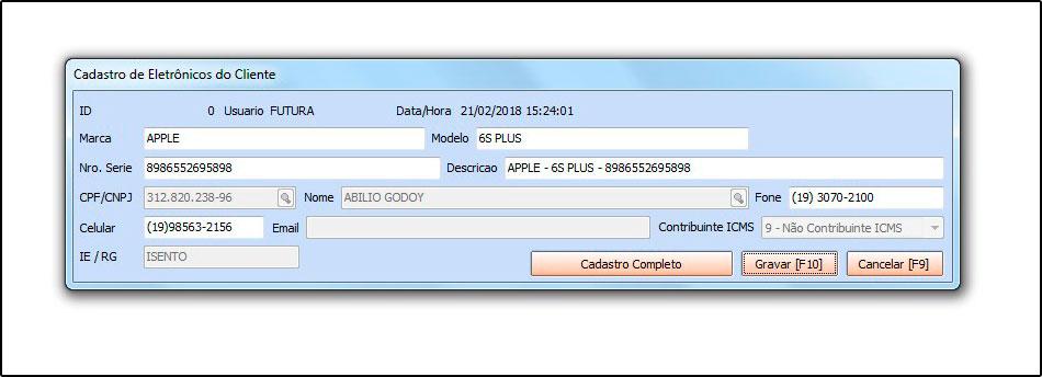 Novo sistema Futura OS (Ordem de Serviço) - 06