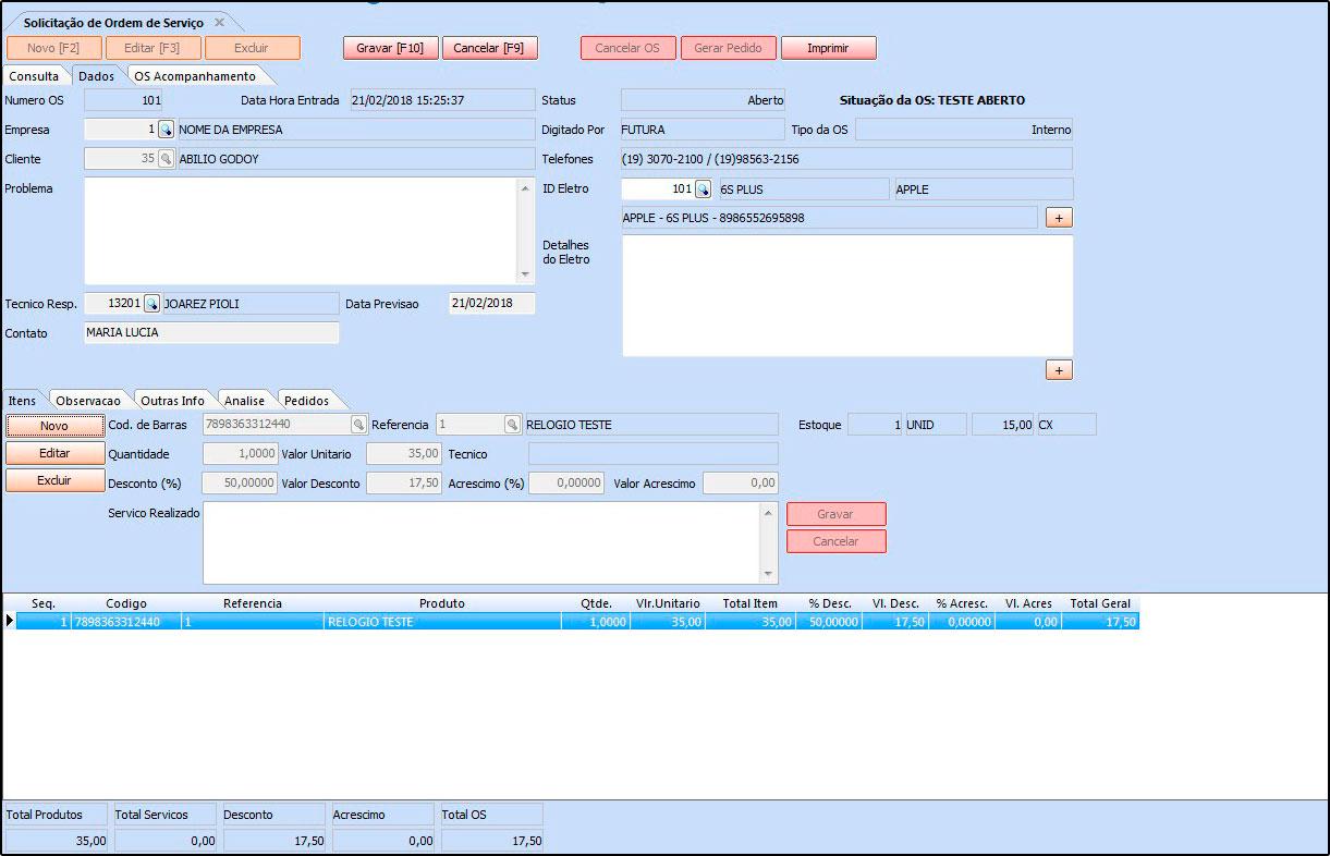 Novo sistema Futura OS (Ordem de Serviço) - 07