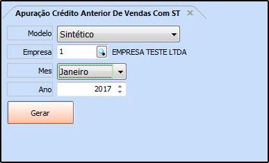 Relatório Apuração Crédito Anterior Vendas com ST – FS232 - 01