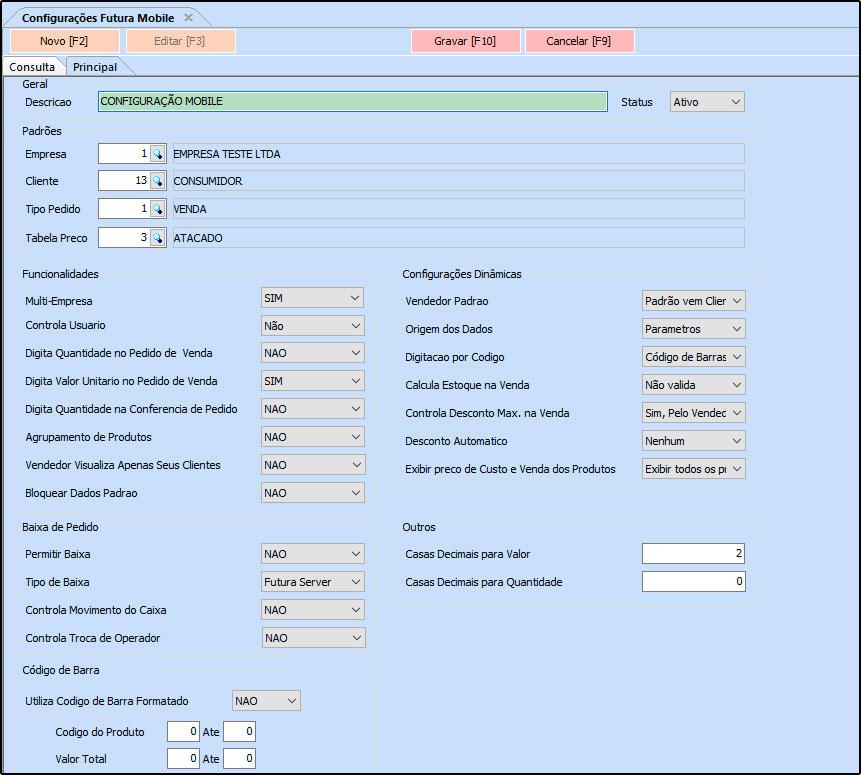 Configurações Futura Mobile – FS322