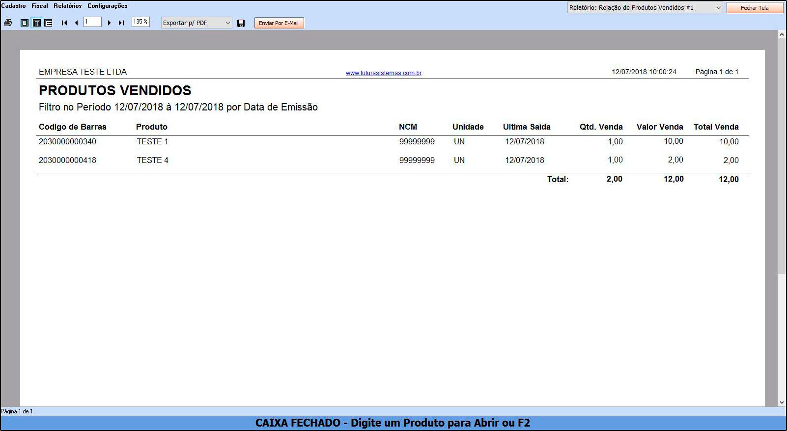 Como Funciona Relatório de Vendas de Produtos – FCSH12.1 02