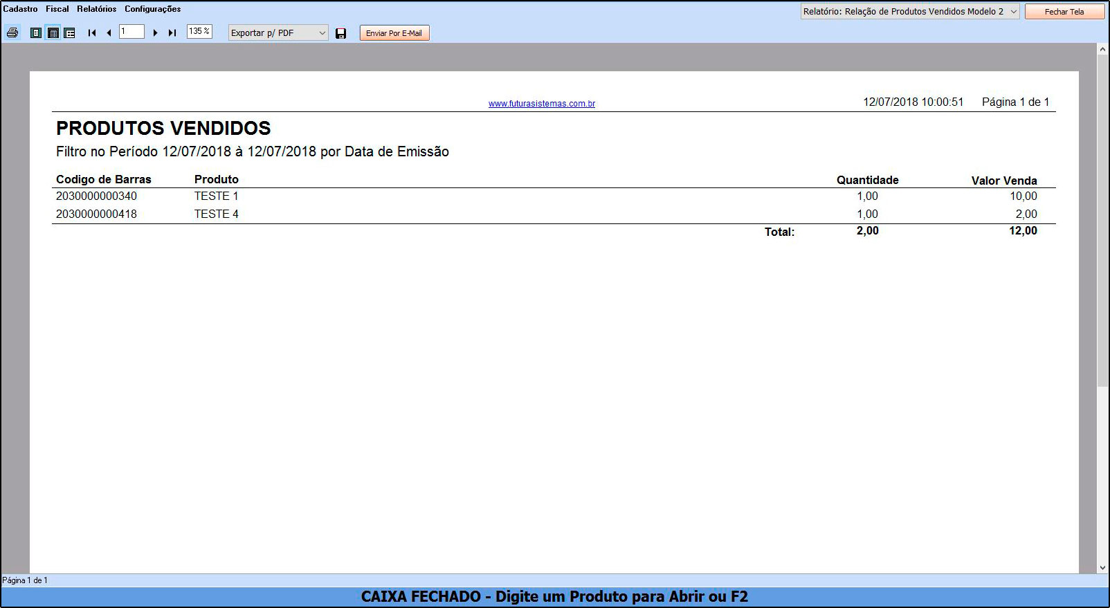 Como Funciona Relatório de Vendas de Produtos – FCSH12.1 03