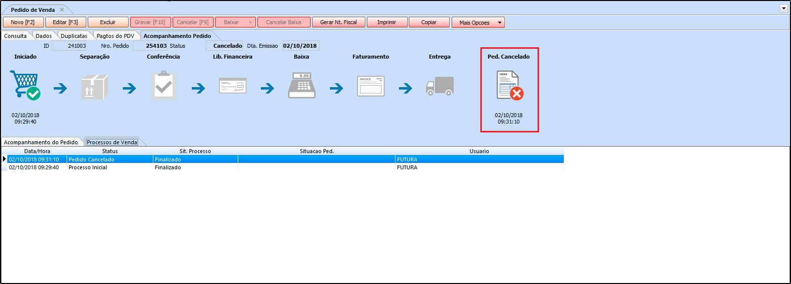 Como trabalhar com a rotina de Processo de Vendas no Futura Server - FAQ41