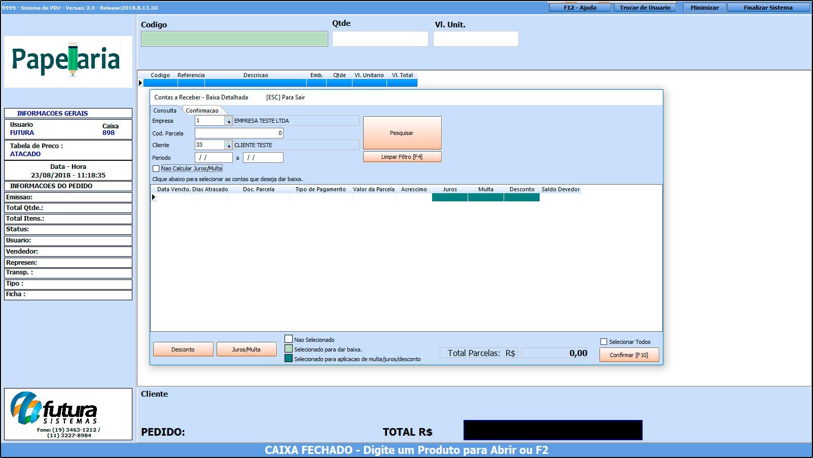 Como trabalhar com o recebimento de contas no Futura PDV – FAQ43 (10)
