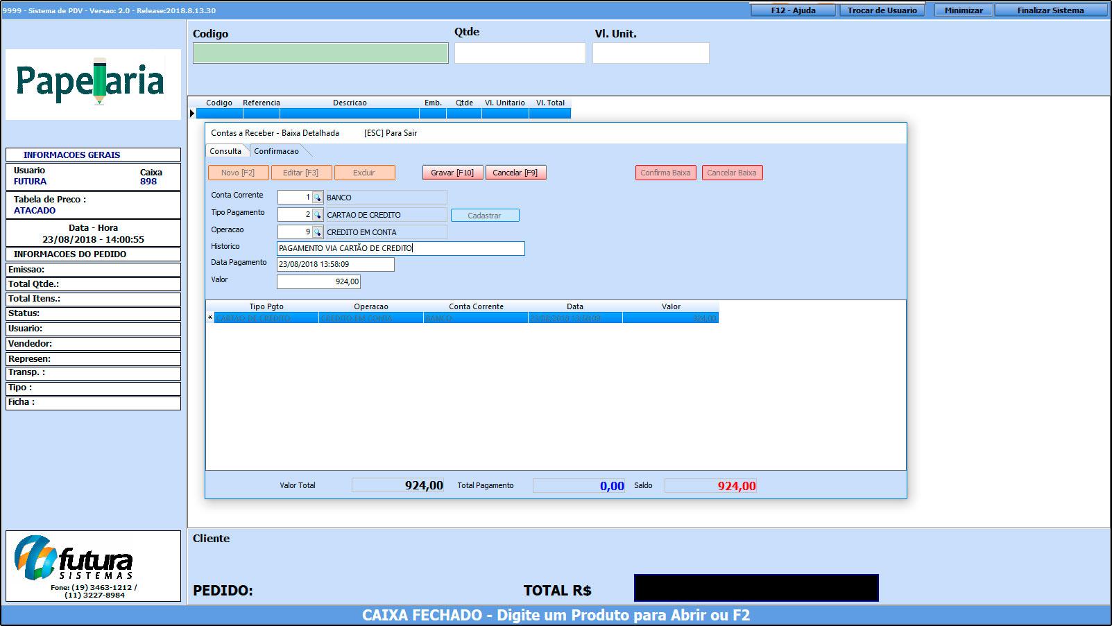 Como trabalhar com o recebimento de contas no Futura PDV – FAQ43 (13)