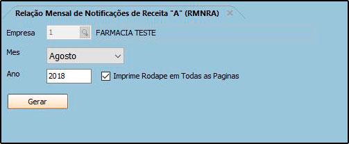 Relatório de Medicamentos Controlados – RMNRA – FFS21 01