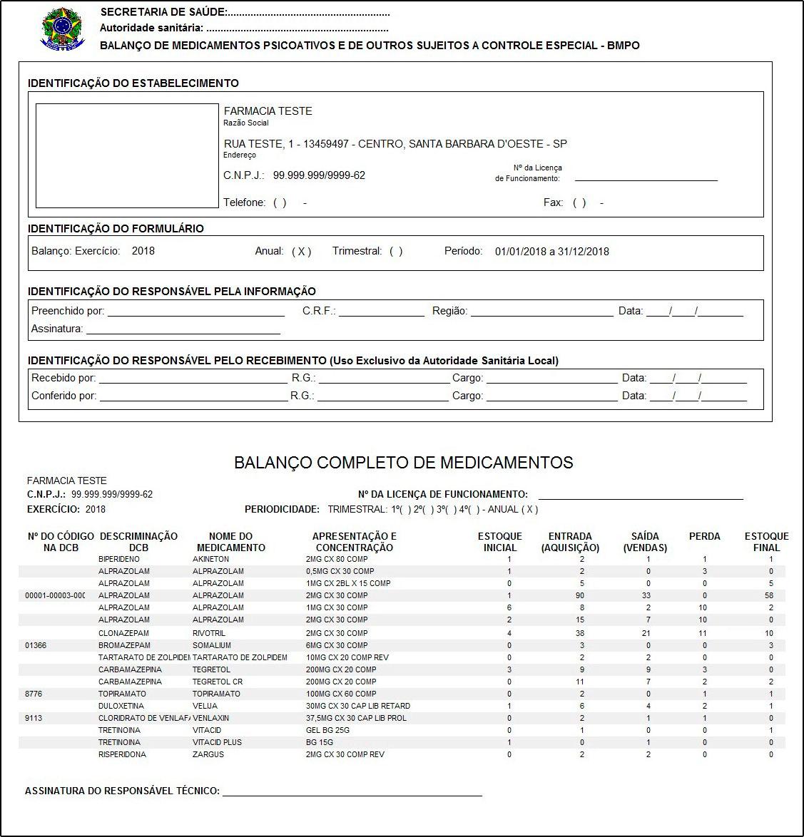 Relatório de Medicamentos Controlados BMPO 344 – FFS20 02