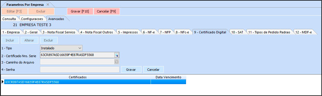 Parâmetros por Empresa – FS312 14