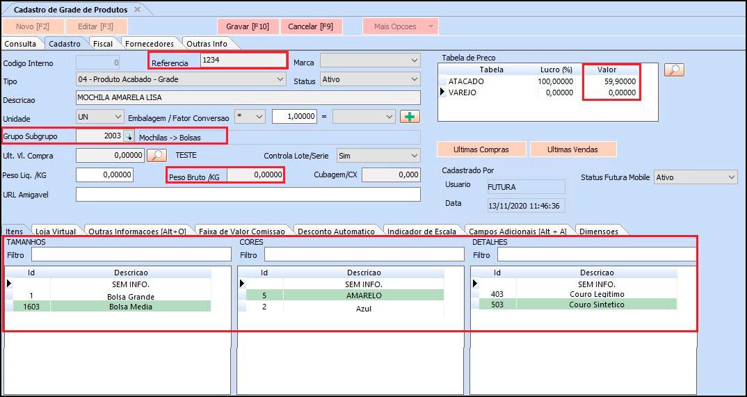 Como cadastrar grade de produtos especifica para Loja Virtual – FAQ89 006