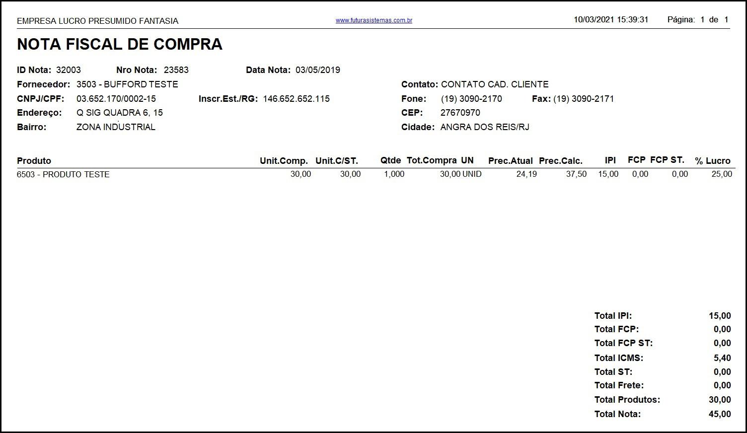 Relatório Nota Fiscal de Compra – FS236.1 02