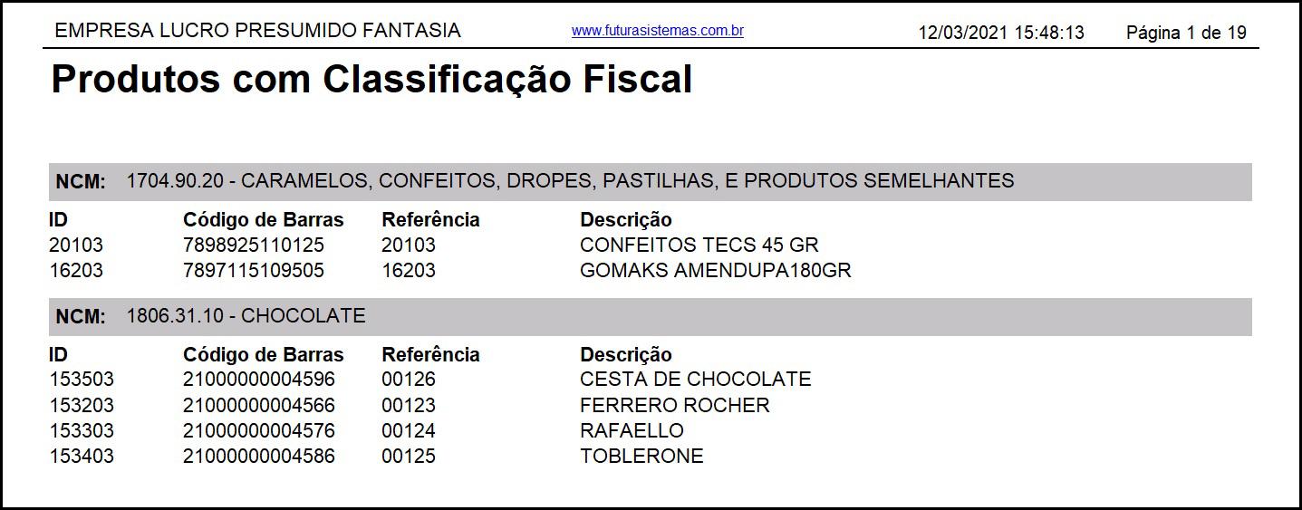 Relatório Produtos com Classificação Fiscal – FS236.3 2