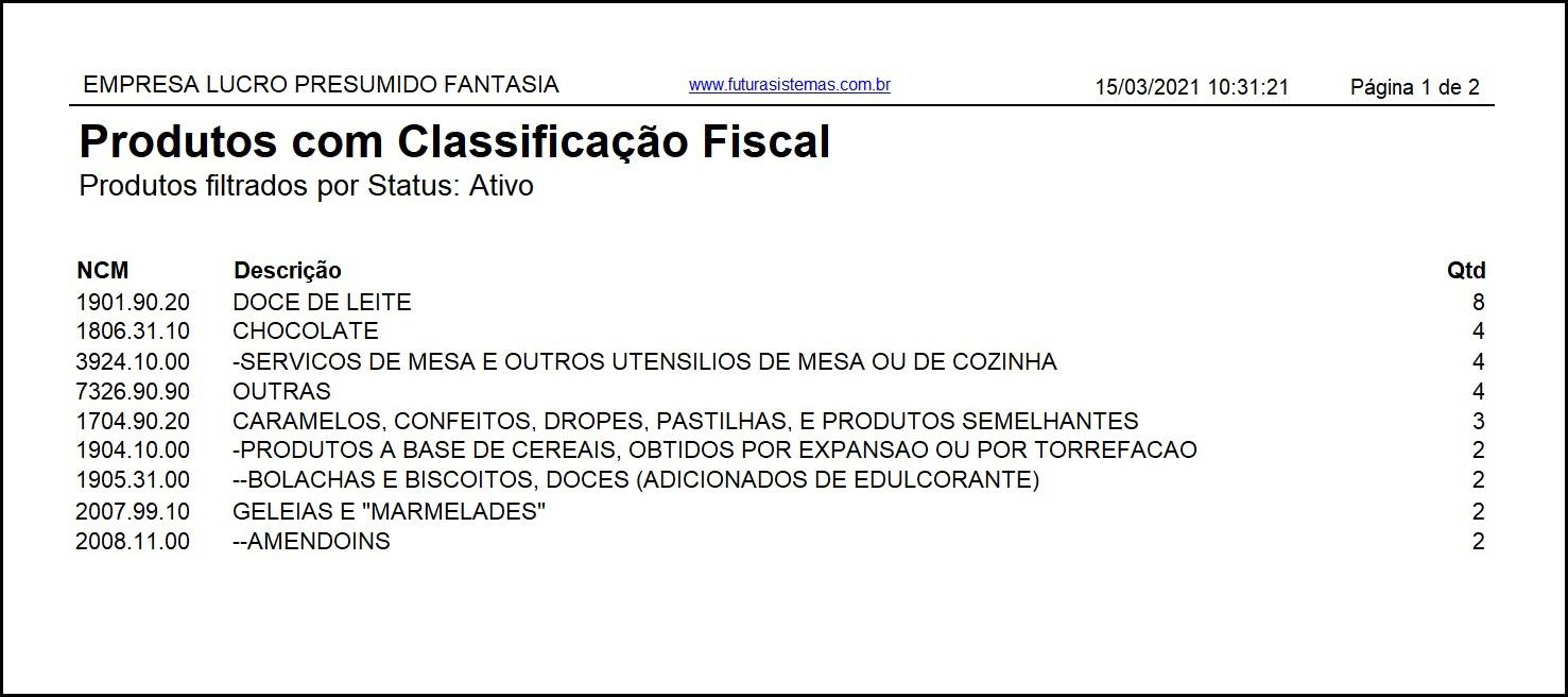 Relatório Produtos com Classificação Fiscal – FS236.3 3