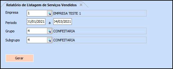 Relatório Vendas de Serviço – FS189.9 01